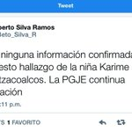 RT @Beto_Silva_R: No hay ninguna inf. confirmada sobre hallazgo niña Karime Cruz #Verfollow #Veracruz #Coatzacoalcos http://t.co/4MeBj3VUZJ