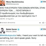 Dear PM @Xavier_Bettel we -greek people- are sorry for @NikNikolopoulos , hes just a homophobic ChristianTaliban. http://t.co/rp5CaXw4Rg