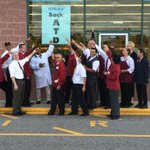 Employees at the Tewksbury Store! Artie T is BACK! Watch him speak LIVE in 2 minutes on #wcvb #MarketBasket http://t.co/O9RcJGf0ES
