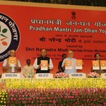 Launched Jan Dhan Yojana & gave awards to those who won in the contest to design the name & logo of this scheme http://t.co/MTEx54AmpW