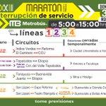 Afectación al servicio de #MetrobúsCDMX este 31 de agosto con motivo del @MaratonCdMx 2014. Tome previsiones http://t.co/pBBy34ZE1l