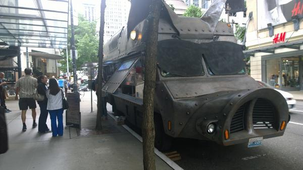 Just ordered pulled pork BBQ from an armored pig food truck! :-o http://t.co/R5GwO8dm8W