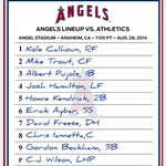 Here's how the #Angels line up as they host the Athletics. http://t.co/oNyC6Hc7cn