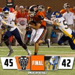 RT @MercerFootball: Thats the game! Reinhardts missed field goal results in a turnover and a 45-42 @MercerFootball victory! #BearTrax http://t.co/GJgmCjmqJY