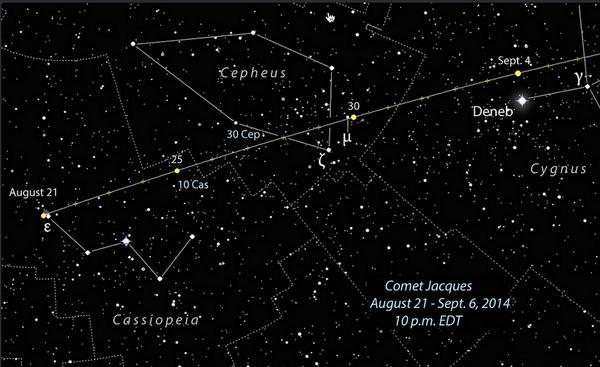 If you haven't seen #comet #Jacques C/2014 02 - you can pick it out w/binoculars! Check Here: https://t.co/Bgs3WxoM36 http://t.co/BaWkoWbHrI