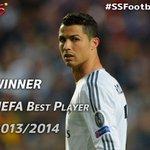 Real Madrids Cristiano Ronaldo won the UEFA Best Player Award last night. #SSFootball http://t.co/xZJM8Vijxw
