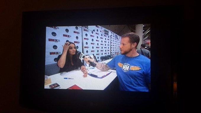 Trish Stratus @trishstratuscom: RT @DeeperDennis: Watching Justice league war, and look who I see. From the other side of Canada @trishstratuscom #FanExpoCan http://t.co/T…