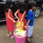 """So 2day my kids did the """"rice bucket challenge!""""filled up groceries 4 the girls orphanage with their piggy bank money http://t.co/In9U5TiTNz"""