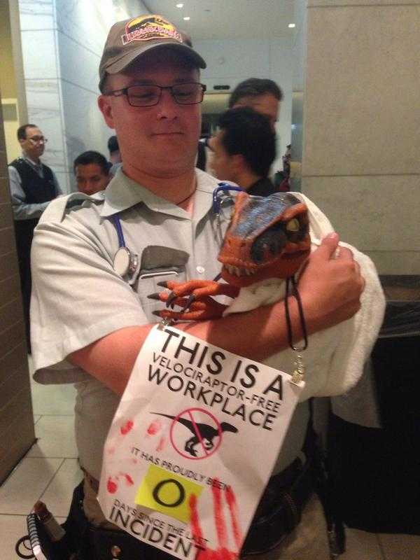 I can't get over the awesome of this costume. I mean, the sign really puts it over the top. #DragonCon #JurassicPark http://t.co/nyTD1CU37l