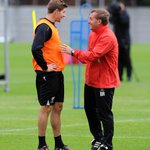 Captain and Manager. Brendan Rodgers and Steven Gerrard in good spirits during #LFC training today. http://t.co/3JPyLfBn0E