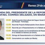 RT @CafeteriaAP: Compartimos la agenda que cumplirá el Presidente @MashiRafael en #Manabí. http://t.co/BlFIIxY6Hx