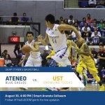 The Ateneo Blue Eagles will go up against the UST Growling Tigers today, August 30. http://t.co/rqCexWXam1