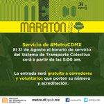 Recuerde, este Domingo 31 de Agosto @MaratonCdMx #42KdeHuellasVerdes. #MetroCDMX inicia servicio 5 a.m. http://t.co/rgZ6O5JnP7