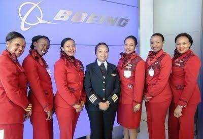 an all female #DreamLiner crew by #KQ hongera sana dada @ms_koki you might be the 1st ever 787 female captain