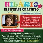 """RT @Rede45: Pérola do Hilário Eleitoral:Dilma fala da """"maior obra hídrica já realizada na história"""",mas nem a metade ficou pronta http://t.co/PJjJ0gdXXr"""
