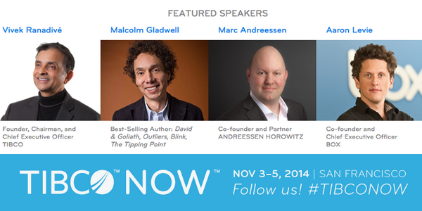 You can't beat the lineup we have at #TIBCONOW! Who's excited to hear from @Gladwell, @pmarca, @levie, & @Vivek? http://t.co/nKAraKdqv4