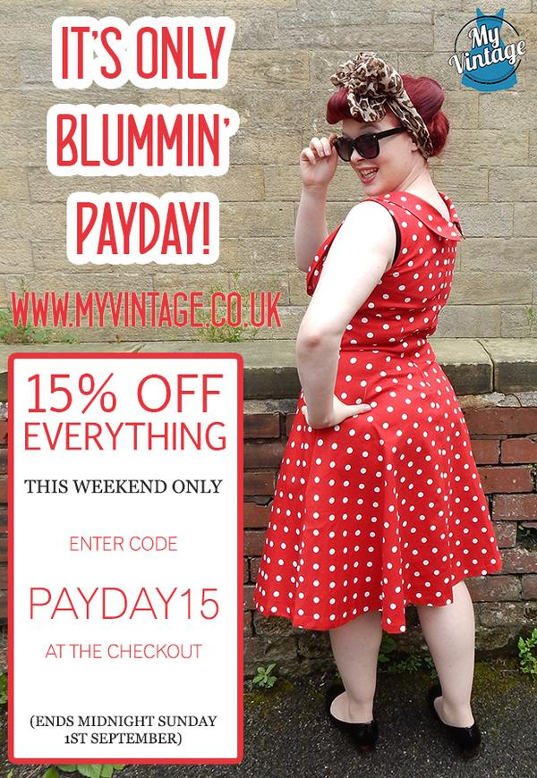 Emma from My Vintage (@emmabphilosophy): Happy Payday! 15% off all weekend at http://t.co/YOvddAr5uz  Treat yourself and RT! #vintageonline http://t.co/cheTOrkQEg
