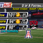 Get ready! @UofA @ArizonaFBall game forecast. A warm evening, but comfortable with low humidity. #Arizona #Football http://t.co/SJCH0UDItt