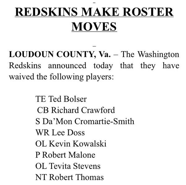 RT @Redskins: NEWS: The #Redskins have announced the following roster moves; have until 4 p.m. Saturday to trim rosters to 53. http://t.co/xZ66doJ9HP