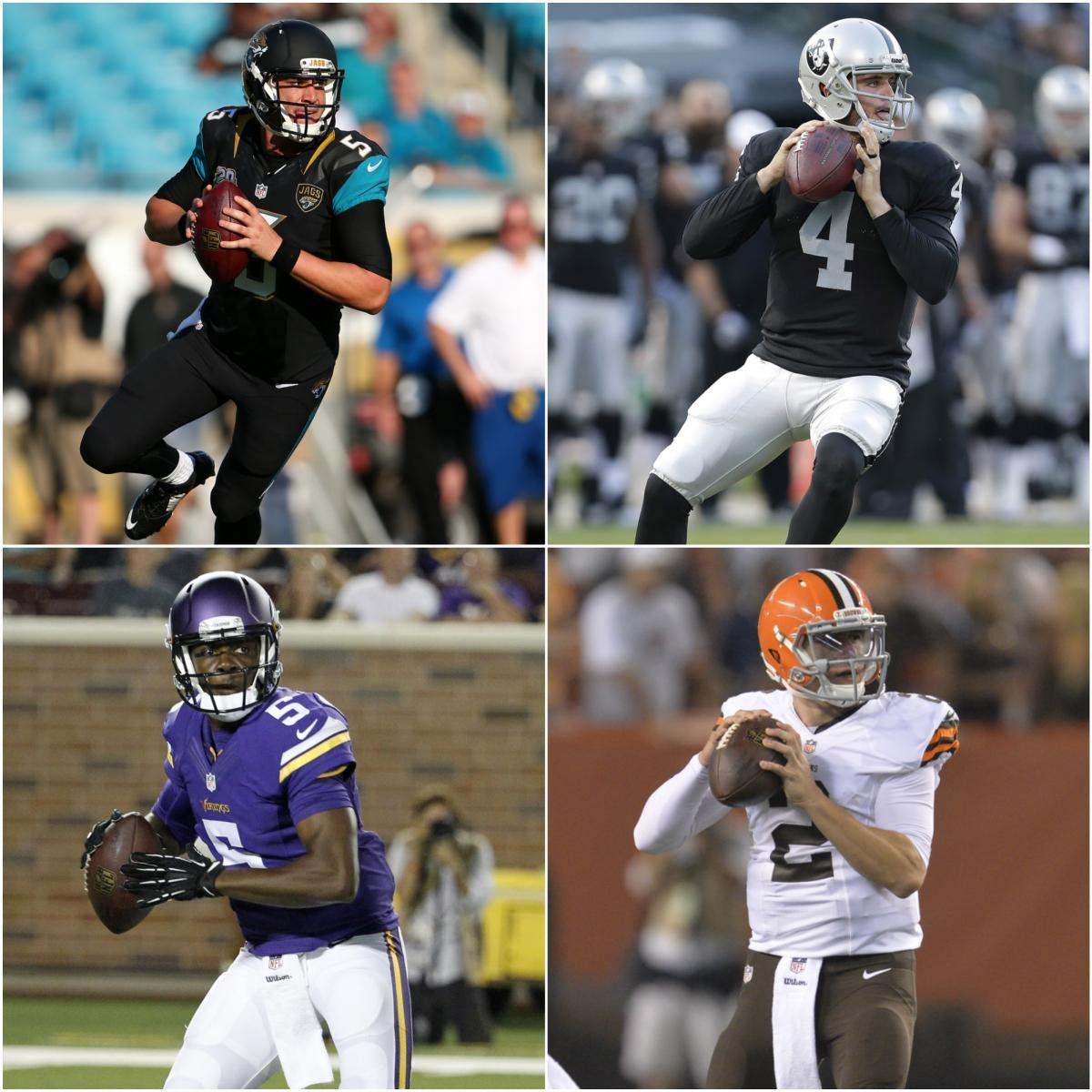 RT @nflnetwork: Which rookie QB should start first: #Bortles #Carr #Bridgewater or #Manziel? http://t.co/PQpTfNa1co