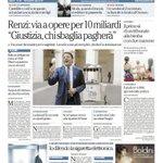 """RT @repubblicait: Via allo Sblocca-Italia. Renzi ai magistrati """"Chi sbaglia paga"""". La prima pagina di Repubblica di oggi http://t.co/xlrbLiXhZs"""