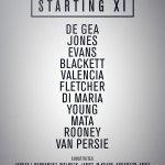 RT @ManUtd_MY: #mufc starting XI: De Gea, Jones, Evans, Blackett, Valencia, Young, Fletcher, Di Maria, Mata, Rooney, van Persie. http://t.co/ikR3Y0mspe