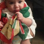 My nephew sent me this pic of his son draped in a PTI flag :) http://t.co/HPjMJI0KZu