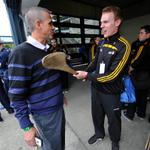 Pic: @YDRPennState gets a close up view of a hurley from a friendly hurler @CrokePkClassic. Updates @ydrcom http://t.co/m2T57XJt9r