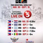 RT @PublicityAsia: Laban Pilipinas! FIBA Basketball World Cup schedule live on @Sports5PH dahil sa @TV5manila #HAPPYKaDito RT http://t.co/jtME48JoQ1