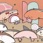 きりみちゃん!!はじめてきりみになった日おめでとう!!!「…わっ!」 きりみちゃんにお祝いの言葉はここに書いてほしいな→ #はじめて切り身になった日 http://t.co/eCI1Xqcrwx