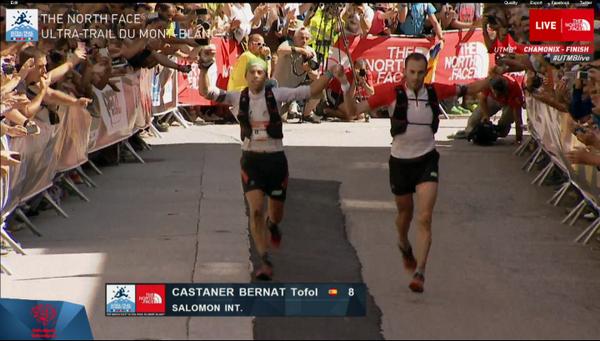 Iker Karrera and Tofol Castaner arriving in Chamonix #UTMB14 2nd position. Congrats!!!! http://t.co/wMYk8fZkhi