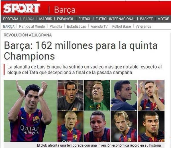 Pique (2013): Madrid went out and bought players for 100M euros after a trophy-less season. At Barça we cant do this. http://t.co/wOzvHn0Y1u