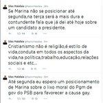 RT @Greenhalgh_: Após receber ultimato do Malafaia, Marina trai a confiança dos gays e volta atrás. Essa senhora pode ser presidente? http://t.co/zUmTIMvNpe