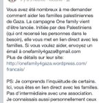 Si vous souhaitez aider les familles palestiniennes dans le besoin (via Nadir Dendoune) #OneFamily #HelpPalestine http://t.co/9eC40Vsncz