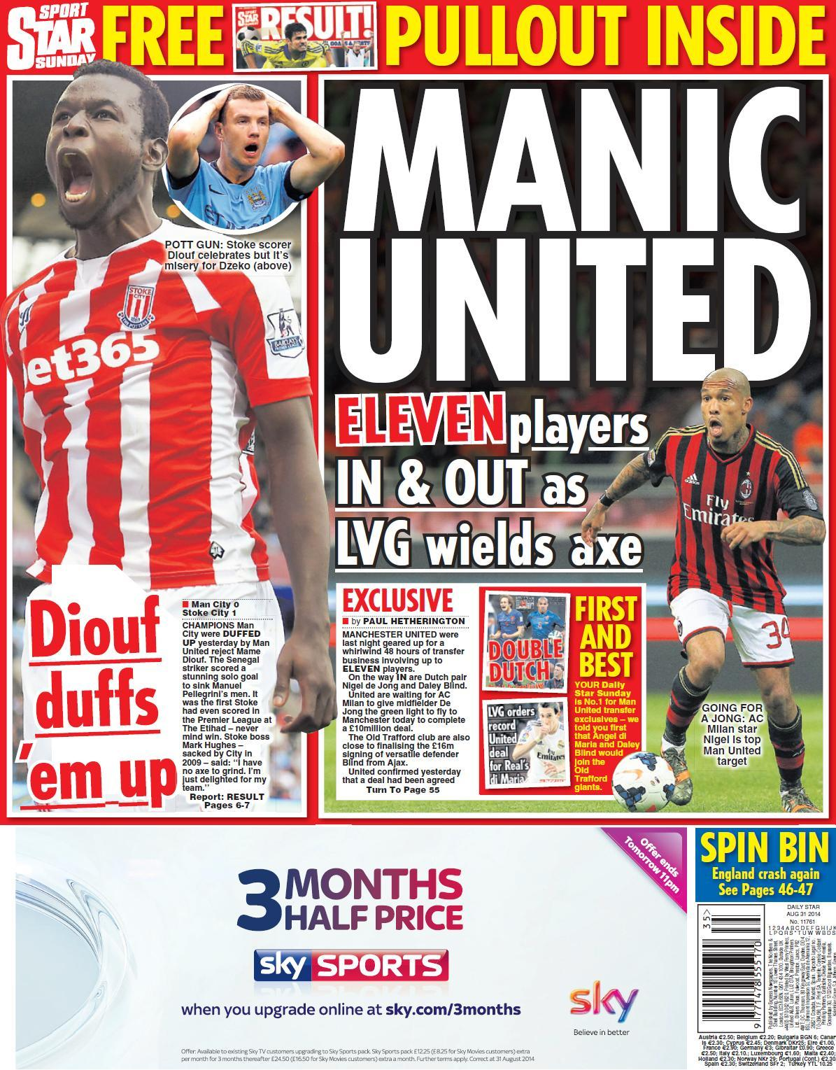 Man United to sign AC Milans Nigel de Jong for £10m, 9 players being axed [Sunday Star]