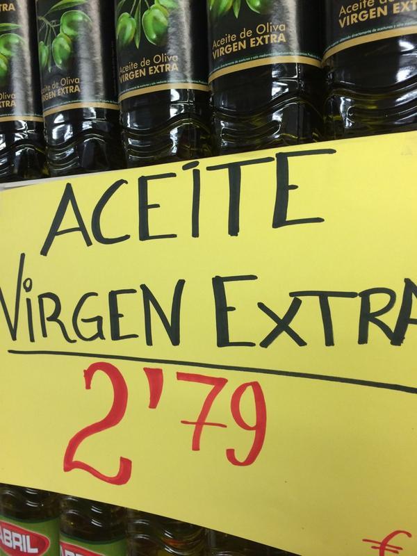 RT @orodeldesierto: Esta mañana... En un supermercado... En serio se puede vender a este precio al público con IVA incluido un #aove?... http://t.co/z4xLNmKHoW