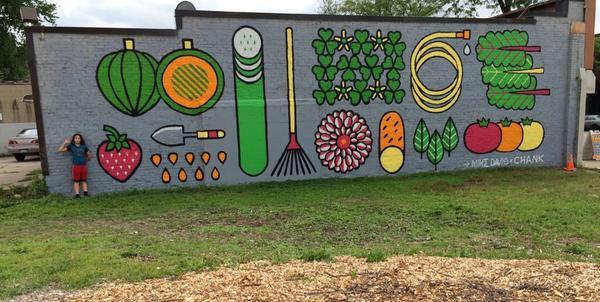 recently completed new mural by @Mike2600 x @chankfonts in #NEMpls, fresh! #streetart #gardenart #CultivateNE http://t.co/151MnSBjpD