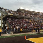 Fans leaving the stadium during rain delay most of the #Griz faithful have stayed in their seats though http://t.co/tdQiIDmBWO