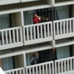 Theres a guy dressed up as Riker standing on a balcony playing a trombone. #DragonCon2014 http://t.co/MiJTW4r3l7