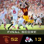RT @USC_Athletics: FINAL: USC 52, Fresno State 13. The Steve Sarkisian era begins with a blowout at the coliseum. #FightOn http://t.co/z4W8fBqRit