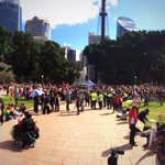 Crowd gathering at #Sydney hyde park for #MarchInAugust #MarchAustralia protesting @TonyAbbottMHR budget cuts http://t.co/5XLFkIROKh