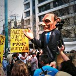 Breaking: @TonyAbbottMHR has joined the #MarchInAugust rally in Melbourne to protest against Abbotts evil government http://t.co/yoZmspB6Bb