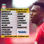 RT @LFC: IMAGE: #LFC v @SpursOfficial starting XI and subs match graphic http://t.co/eIbvpEUU4K