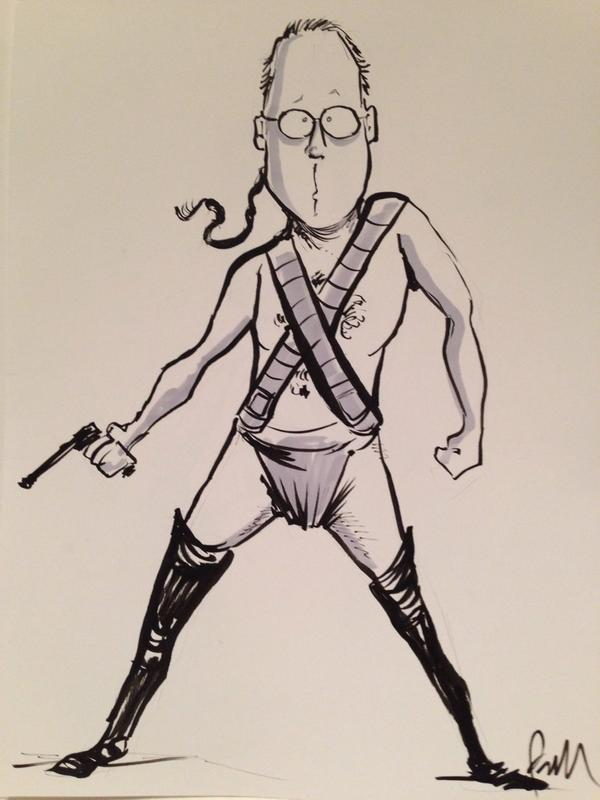 Original pen and ink art of @JoelGHodgson as Zardoz. For sale at the @DragonCon walk of fame! http://t.co/jN2lgUd49R