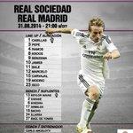 ¡Esta es la alineación del Real Madrid para el partido de hoy! #RSORealMadrid #RMLive http://t.co/AOvcLRJy4p