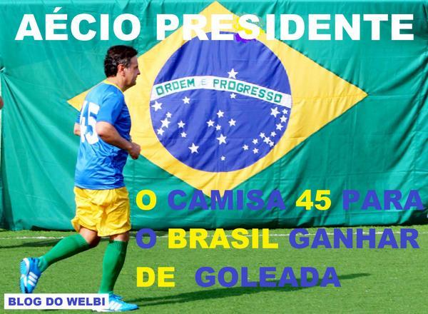 AÉCIO, O CAMISA 45 PARA O BRASIL GANHAR DE GOLEADA http://t.co/vlmLI0aEOd #SomosMaisAecio