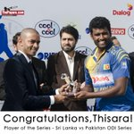 RT @dialoglk: Congratulations, @PereraThisara! Player of the Series - #SLvPak ODI Series.. #OurLionsOurPride http://t.co/vkKMtB6Gpd