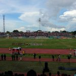 Imagenes del partido entre @Portuguesa_FC 1 - 2 @Zulia_FC. Perspectivas de la tribuna norte, sur y popular. http://t.co/zYzAHMryro