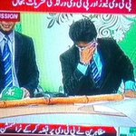Wounded and Hurt PTV Newscaster.. Their gestures reflecting true image of 200 million Pakistans! http://t.co/XGgLOX7esl