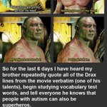 A touching observation about Drax from Guardians of the Galaxy by a boy with autism. (h/t @hEnereyG) http://t.co/dYf8doABLe